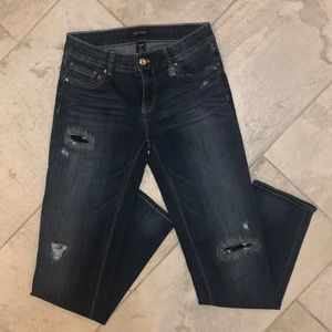 WHBM Super Cute distressed Straight Crop Jeans